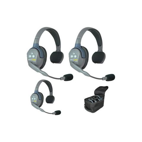 Eartec UltraLITE 3 person system with 3 Single Headsets