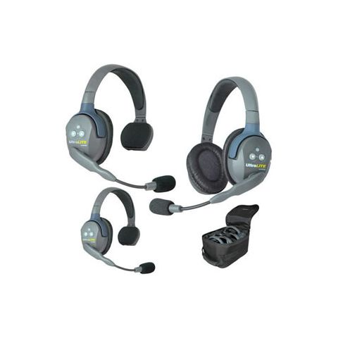 Eartec UltraLITE 3 person system with 2 Single & 1 Double Headset