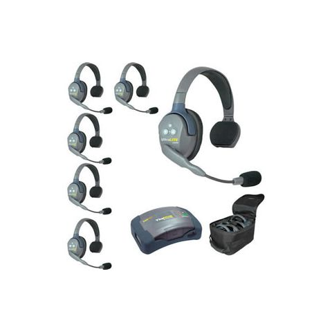 Eartec UltraLITE HUB 6 person system with 6 Single Headsets