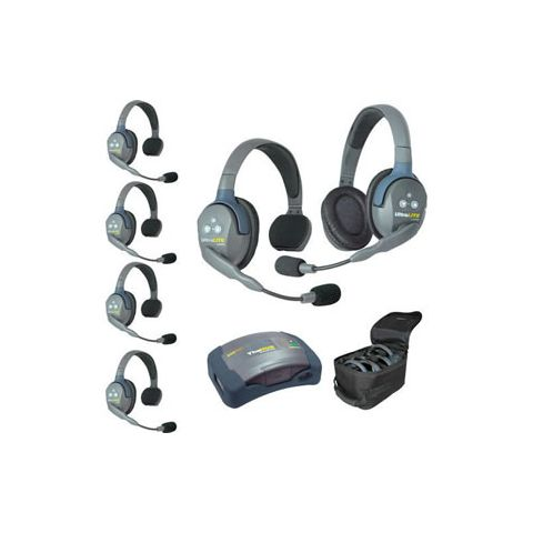 Eartec UltraLITE HUB 6 person system with 5 Single 1 Double Headset